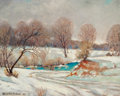Fine Art - Painting, American, Dwight Clay Holmes (American, 1900-1986). Snow at Ben FicklinCrossing, San Angelo, Texas, 1947. Oil on canvasboard. 16 ...