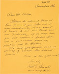 Baseball Collectibles:Others, 1947 Herb Pennock Handwritten Signed Letter. ...