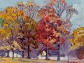 Fine Art - Painting, American, Jessie Davis (American, 1887-1969). Fall Day, 1941. Oil oncanvas laid on board. 12 x 15-3/4 inches (30.5 x 40.0 cm). Si...
