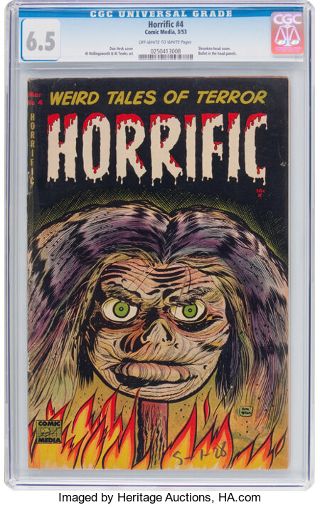 Horrific #4 (Comic Media, 1953) CGC FN+ 6.5 Off-white to white pages....