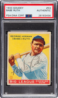 Signed 1933 Goudey Babe Ruth #53 PSA/DNA Authentic