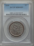 Large Cents: , 1850 1C MS64 Brown PCGS. PCGS Population: (144/82). NGC Census: (139/123). CDN: $360 Whsle. Bid for problem-free NGC/PCGS M...