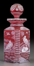Art Glass:Webb, White Overlay Red Glass Crane Scent Bottle Probably made forStevens & Williams Glass Co.. Decorated by John Orc...