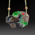 Art Glass:Other , Almeric Walter Pate-de-Verre Pheasant Pendant with Silk andBeaded Cord. Circa 1920. Incised AW. L. 2-1/2 in...