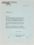 Movie/TV Memorabilia:Autographs and Signed Items, A Frank Sinatra Signed Letter, 1956....