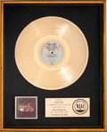 Music Memorabilia:Awards, Pablo Cruise A Place in the Sun RIAA Gold Record Sales Award(A&M SP-4265, 1977)....