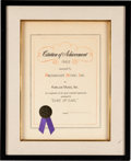 "Music Memorabilia:Awards, Gene Chandler ""Duke of Earl"" BMI Citation of Achievement (1962)...."