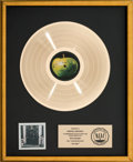 Music Memorabilia:Awards, Beatles Hey Jude RIAA Gold Record Sales Award (Apple CPCS 106, 1970)....
