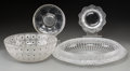 Art Glass:Lalique, Four R. Lalique & Lalique Clear and Frosted Glass Tablewares.Circa 1921 and later. Various marks. Di. 14 in. (largest, Ma...(Total: 4 Items)