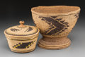 American Indian Art:Baskets, Two Northern California Twined Basketry Items... (Total: 2 Items)