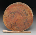 American Indian Art:Pipes, Tools, and Weapons, A Plains Pictorial Drum and Drumstick...