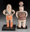 American Indian Art:Pottery, Two Southwest Polychrome Pottery Figures... (Total: 2 Items)