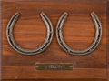 Miscellaneous Collectibles:General, 1998 Pulpit Worn Horseshoes (2) - Great Grandson of Secretariat....
