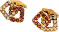 Estate Jewelry:Cufflinks, Diamond, Ruby, Gold Cuff Links, French. ...