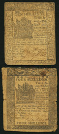 Colonial Notes:Delaware, Delaware May 1, 1777 4s Very Good.. Delaware May 1, 1777 10s Fine..... (Total: 2 notes)