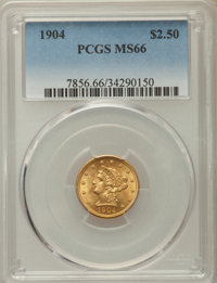 1904 $2 1/2 MS66 PCGS. PCGS Population: (223/66). NGC Census: (200/112). Bid for problem-free NGC/PCGS MS66. Mintage 160...