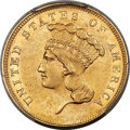 Three Dollar Gold Pieces, 1862 $3 AU53 PCGS....