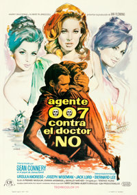 "Dr. No (United Artists, 1963). Spanish One Sheet (27.5"" X 39"") Macario ""Mac"" Gomez Artwork"