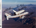 Autographs:Celebrities, Space Shuttle Enterprise (OV-101) Approach and Landing TestsCrew-Signed Color Photo....
