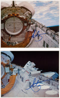 Autographs:Celebrities, Story Musgrave Signed Space Shuttle Challenger (STS-6) EVA ColorPhotos (Two).... (Total: 2 Items)