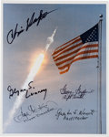 Autographs:Celebrities, Apollo 11 Launch Color Photo Signed by Chris Kraft, Glynn Lunney,Gene Kranz, Gerry Griffin, and Guenter Wendt....