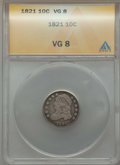 Bust Dimes: , 1821 10C Large Date VG8 ANACS. NGC Census: (1/165). PCGSPopulation: (16/391). CDN: $90 Whsle. Bid for problem-freeNGC/PCG...