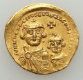 Ancients:Byzantine, Ancients: Heraclius (AD 610-641) & Heraclius Constantine (AD613-641). AV solidus (4.47 gm). XF, Fine Style, wavyflan....