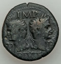 Ancients:Roman Imperial, Ancients: Augustus (27 BC-AD 14), with Marcus Agrippa (died 12 BC).AE dupondius (12.11 gm). Fine....