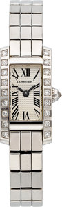 Estate Jewelry:Watches, Cartier Lady's Diamond, White Gold Lanieres Tank Allongee Watch....