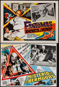 """Movie Posters:Foreign, Mystery in the Bermuda Triangle & Other Lot (Poli Film Mundiales, 1979). Mexican Lobby Cards (2) (12"""" X 16"""", 12.5"""" X 16""""). F... (Total: 2 Items)"""