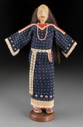 American Indian Art:Beadwork and Quillwork, A Contemporary Crow Beaded Hide Female Doll...