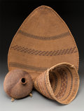 American Indian Art:Baskets, Three Paiute Twined Basketry Items... (Total: 3 Items)