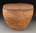 American Indian Art:Baskets, A Large Salish Lidded Storage Basket...