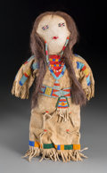 American Indian Art:Beadwork and Quillwork, A Crow Beaded Hide Female Doll...
