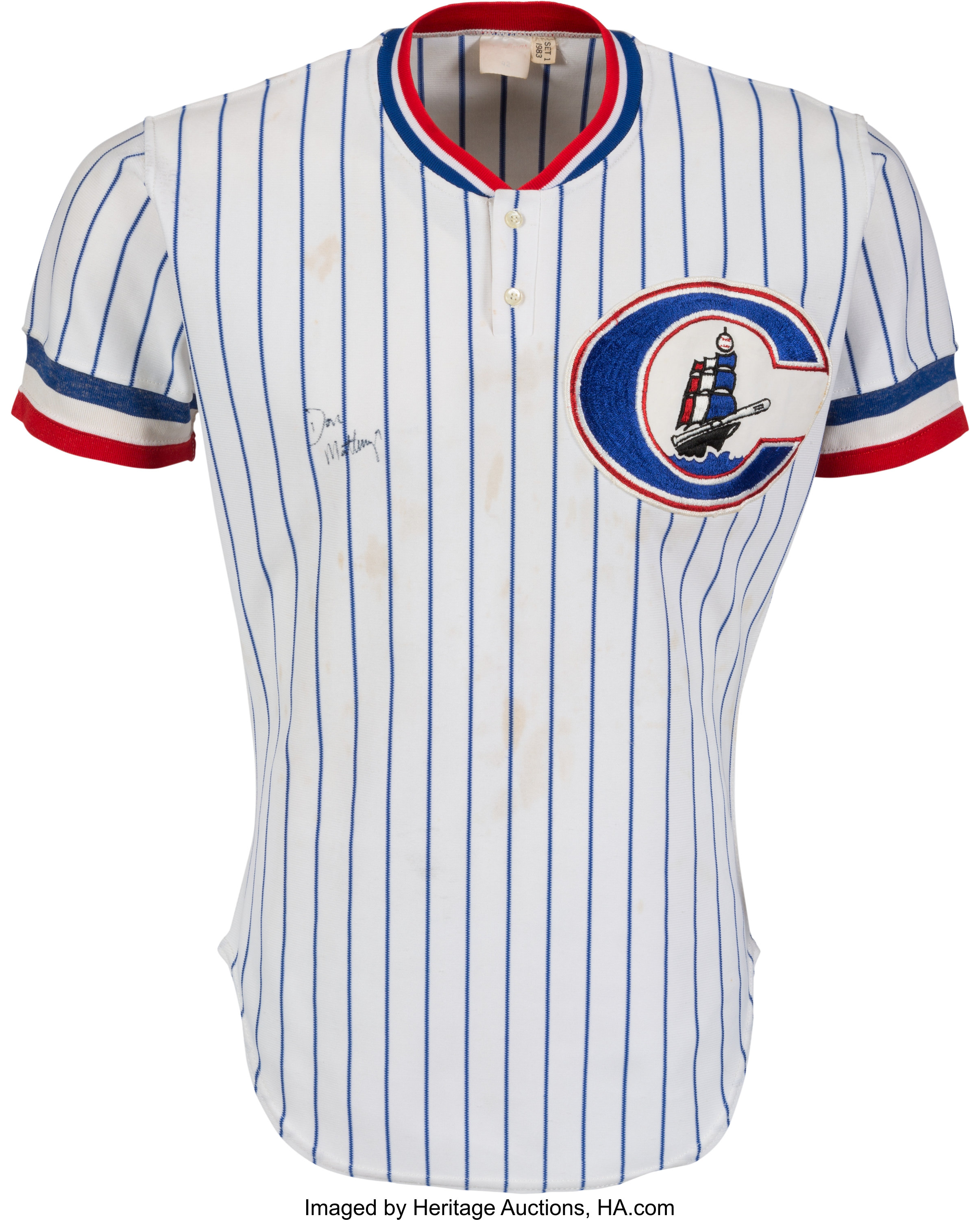 super popular cfd38 673ae 1983 Don Mattingly Signed Game Worn Columbus Clippers Jersey ...
