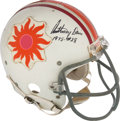 Football Collectibles:Uniforms, 1974-75 Southern California Suns Game Worn & Signed WFL Helmet Attributed to Anthony Davis....