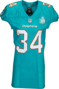 Football Collectibles:Uniforms, 2015 Damien Williams Game Worn Miami Dolphins Jersey - Used 10/4 vs. Jets with NFL Auction Sticker & Photo Match. ...
