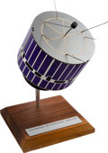 Explorers:Space Exploration, NASA Vintage Synchronous Meteorological Satellite Model on WoodenStand with Engraved Plaque....