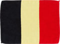 Explorers:Space Exploration, Apollo 14 Flown Belgian Flag Originally from the Personal Collection of Mission Commander Alan Shepard, with Signed and Notari...