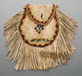 American Indian Art:Beadwork and Quillwork, An Apache Beaded and Fringed Hide Pouch...