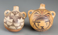 American Indian Art:Pottery, Two Southwest Polychrome Canteens... (Total: 2 Items)