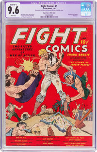 Fight Comics #1 Mile High Pedigree (Fiction House, 1940) CGC Apparent NM+ 9.6 Slight (B-1) White pages
