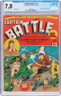Captain Battle Jr. #1 (Lev Gleason, 1943) CGC FN/VF 7.0 Off-white pages