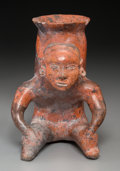 Pre-Columbian:Ceramics, A Colima Seated Bowl Bearer, Cargador...