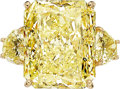 Estate Jewelry:Rings, Fancy Light Yellow Diamond, Diamond, Gold Ring...