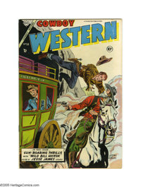 Cowboy Western #50 (Charlton, 1954) Condition: VF/NM. Features Golden Arrow, Rocky Lane, and Blackjack stories. Overstre...