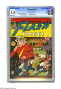 """Golden Age (1938-1955):Superhero, Flash Comics #64 """"D"""" Copy (DC, 1945) CGC VF- 7.5 Off-white to white pages. Martin Naydel cover. Art by Naydel, Joe Kubert, a..."""