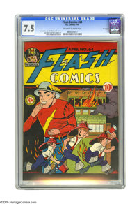 """Flash Comics #64 """"D"""" Copy (DC, 1945) CGC VF- 7.5 Off-white to white pages. Martin Naydel cover. Art by Naydel..."""