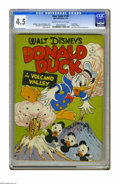 "Golden Age (1938-1955):Cartoon Character, Four Color #147 Donald Duck in ""Volcano Valley"" (Dell, 1947) CGCVG+ 4.5 Cream to off-white pages. Carl Barks story and art...."