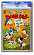 "Golden Age (1938-1955):Cartoon Character, Four Color #223 Donald Duck in ""Lost in the Andes"" (Dell, 1949) CGCVG+ 4.5 Off-white to white pages. Carl Barks story, cove..."
